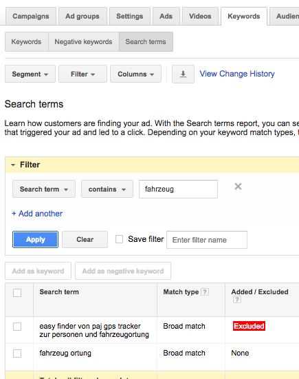 adwords keywords search term report
